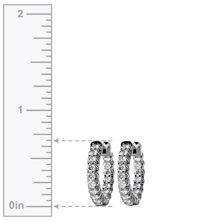 Diamond U-Prong Hoop Earrings in White Gold (1 ctw) | 03