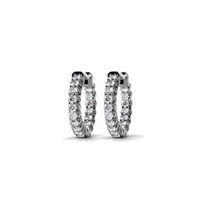 Diamond U-Prong Hoop Earrings in White Gold (3/4 ctw)