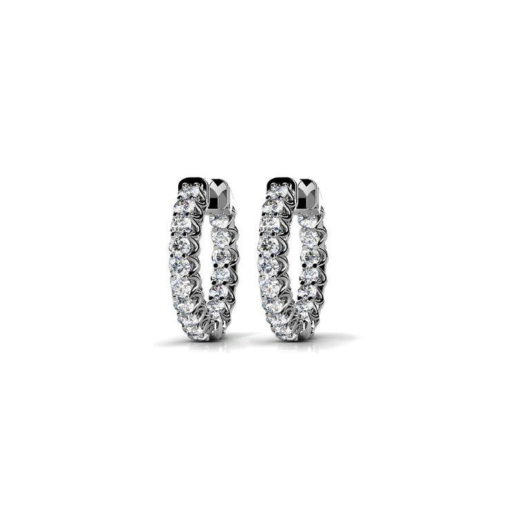 Diamond U-Prong Hoop Earrings in White Gold (3/4 ctw) | 01