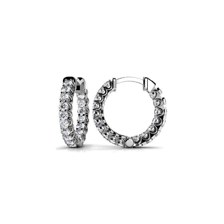 Diamond U-Prong Hoop Earrings in White Gold (3/4 ctw) | 02