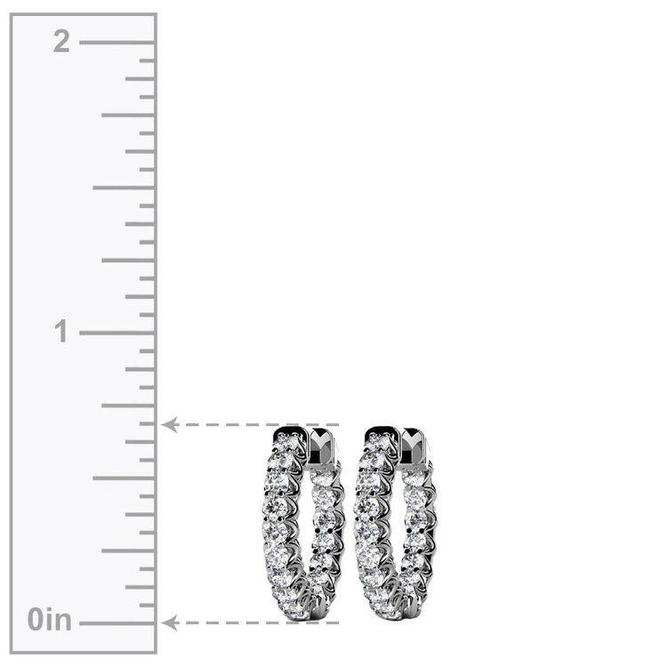 Diamond U-Prong Hoop Earrings in White Gold (3/4 ctw) | 03