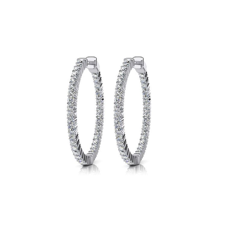 Diamond Hoop Earrings in White Gold (1 ctw) | 01