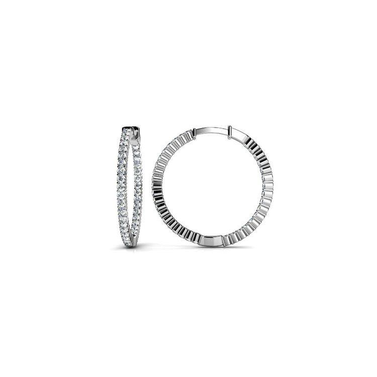 Diamond Hoop Earrings in White Gold (1 ctw) | 02