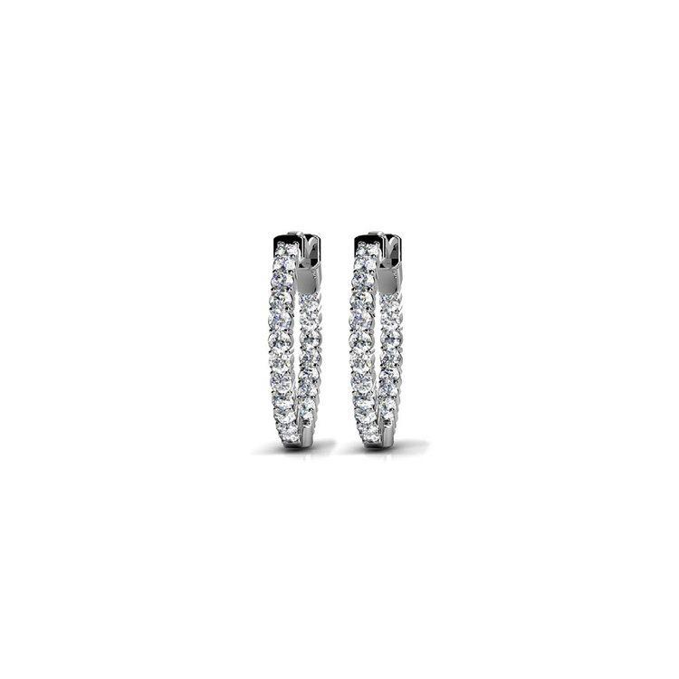 Diamond Hoop Earrings in White Gold (1/2 ctw) | 01