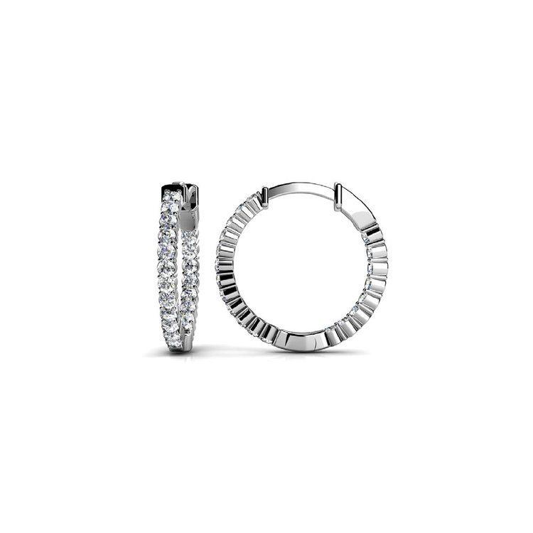 Diamond Hoop Earrings in White Gold (1/2 ctw) | 02