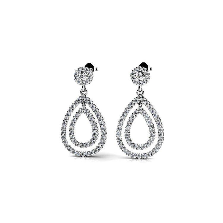 Diamond Link Earrings in White Gold   01