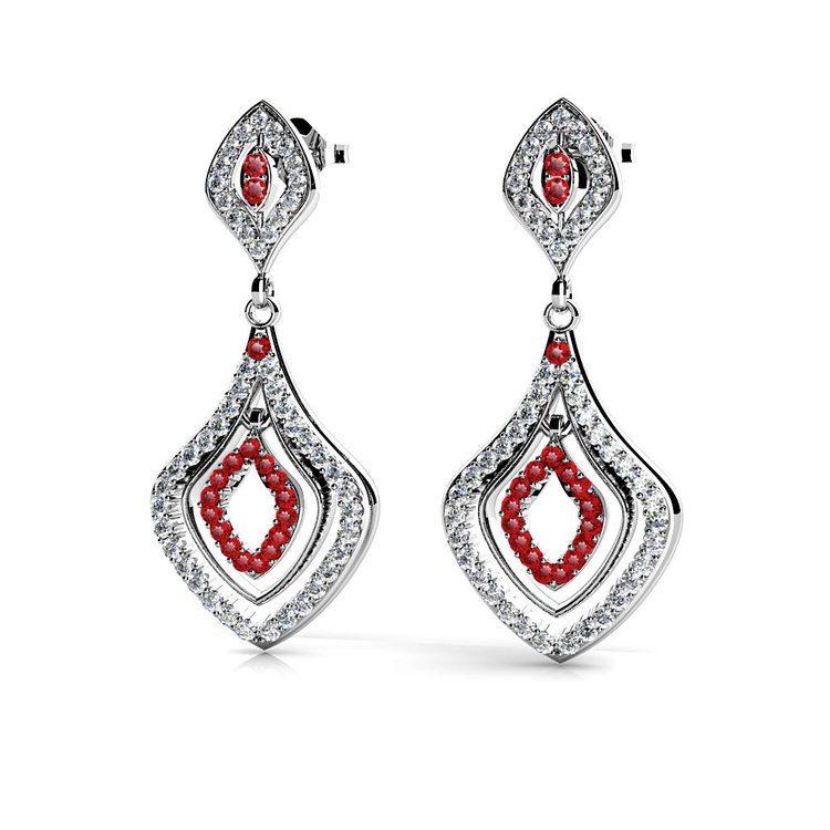 Diamond & Ruby Dangle Earrings in White Gold | 01
