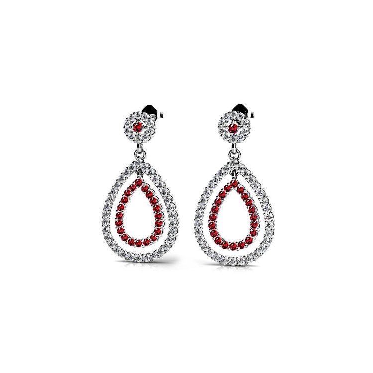 Diamond & Ruby Link Earrings in White Gold | 01