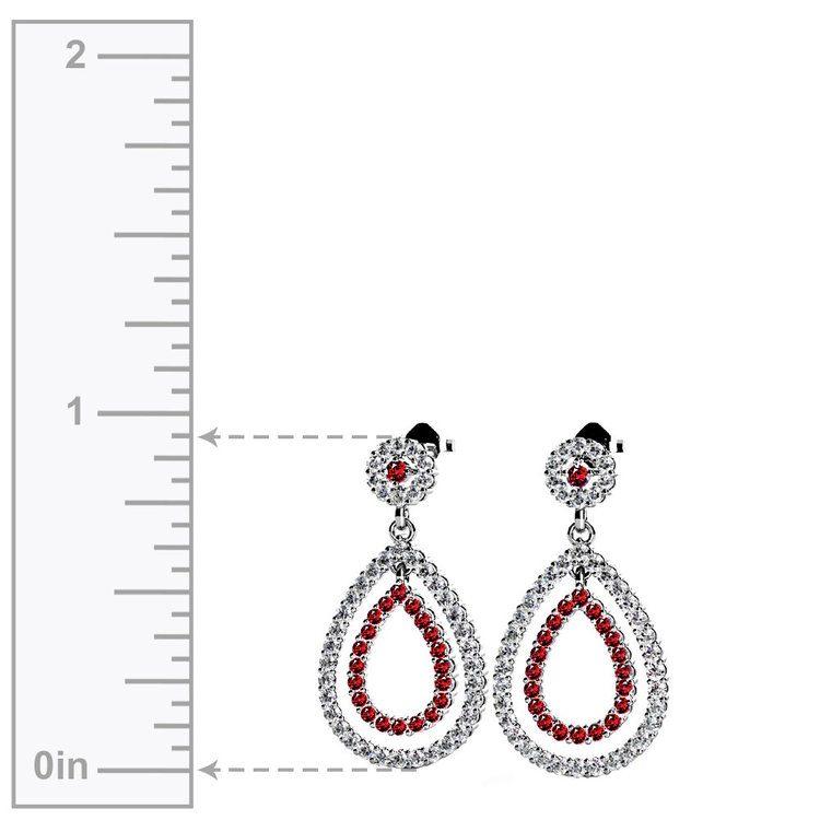 Diamond & Ruby Link Earrings in White Gold | 02
