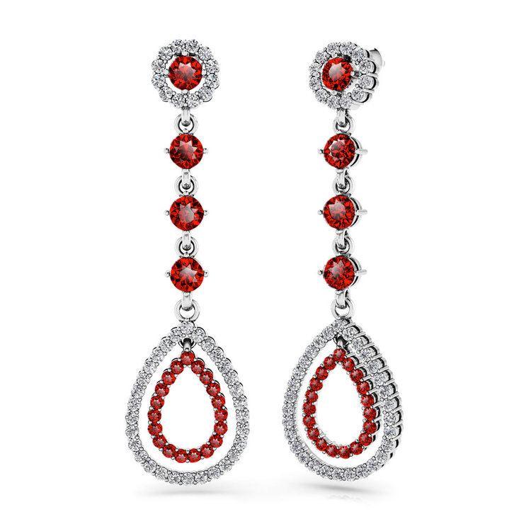 Diamond & Ruby Teardrop Earrings in White Gold   01