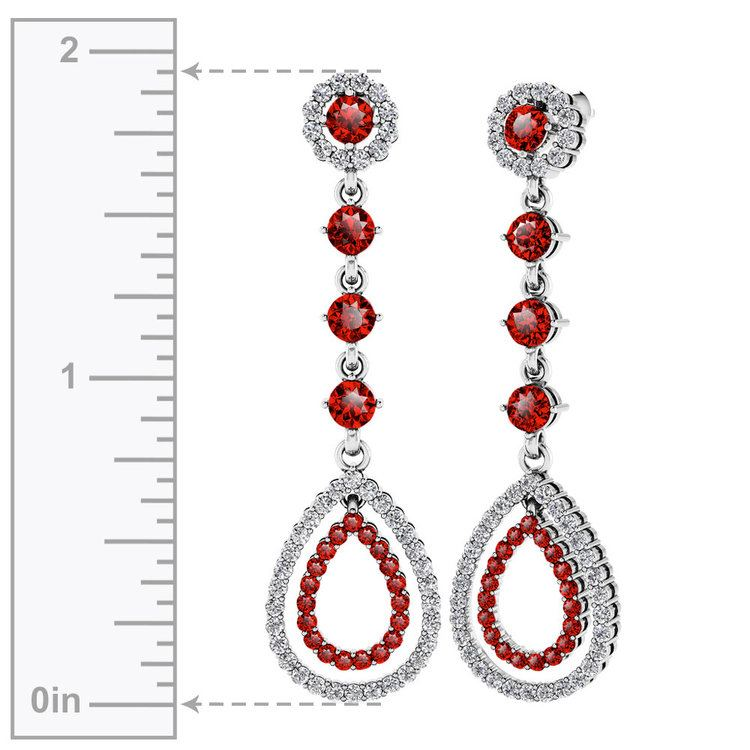 Diamond & Ruby Teardrop Earrings in White Gold   02