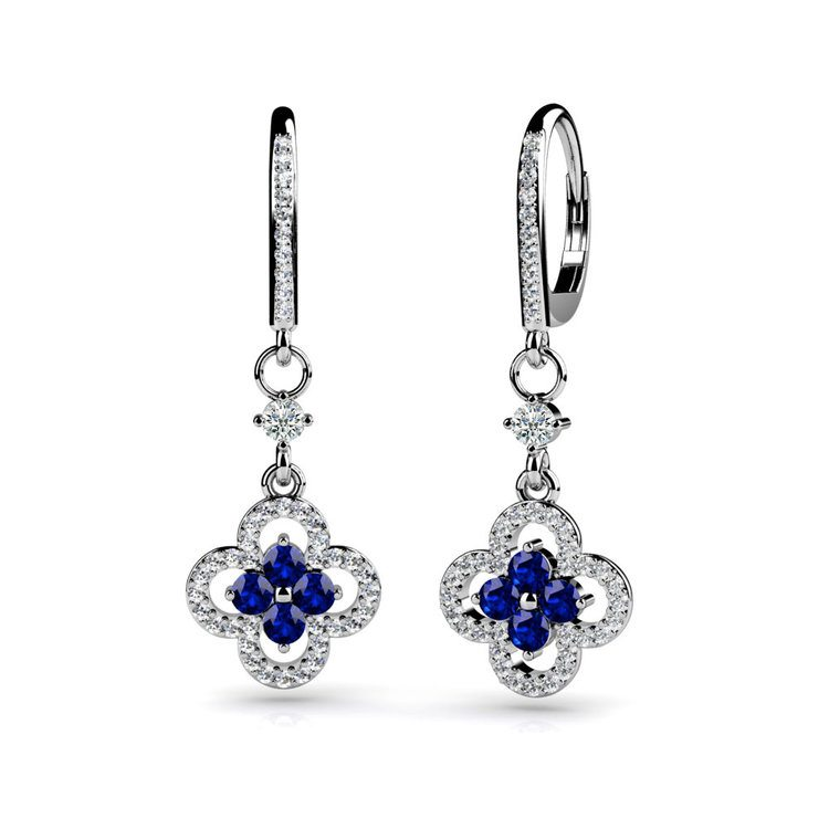 Diamond & Sapphire Clover-Shaped Earrings in White Gold | 01