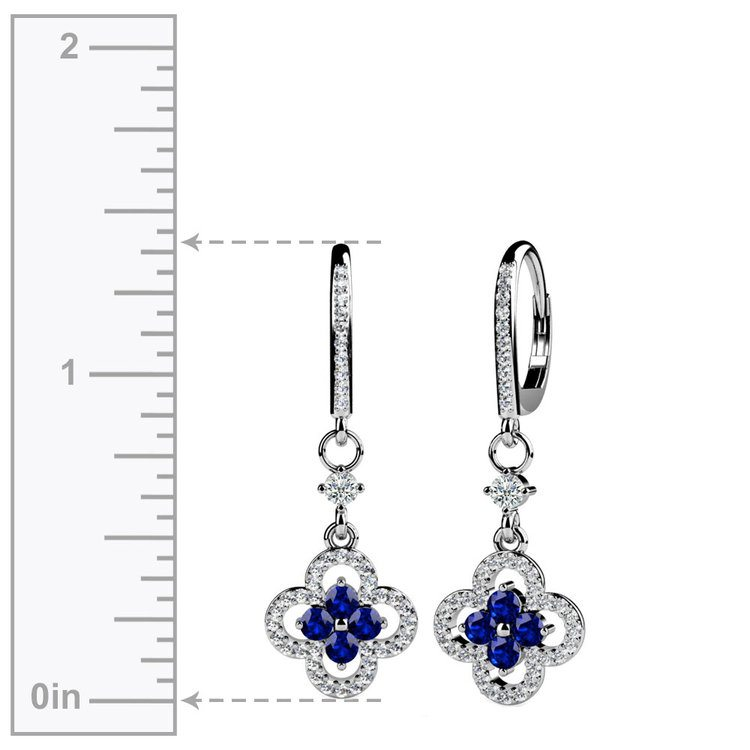 Diamond & Sapphire Clover-Shaped Earrings in White Gold | 02