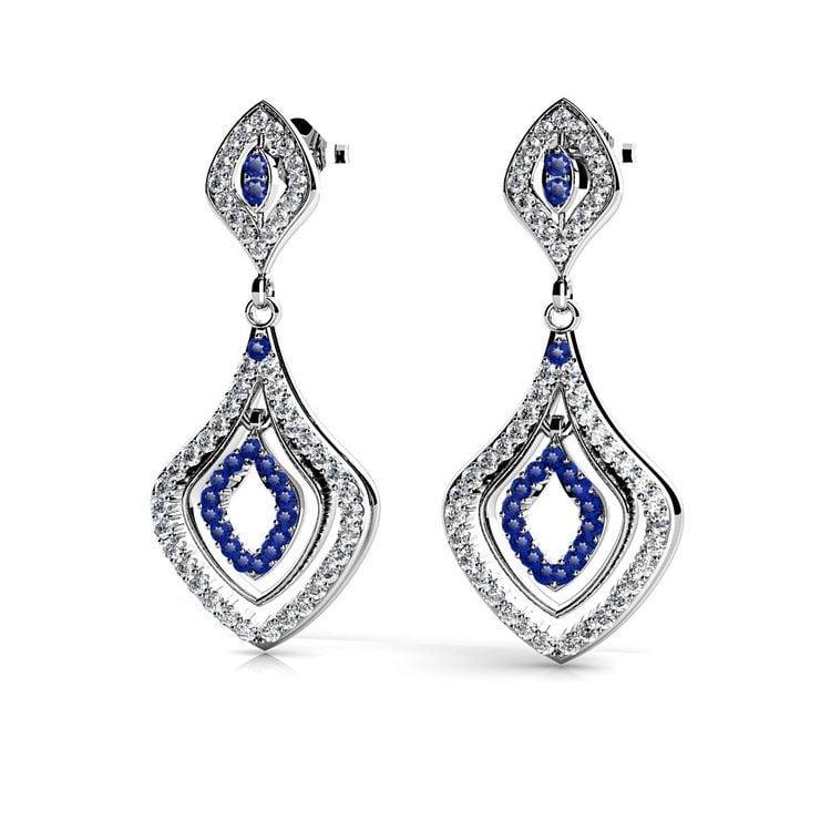 Diamond & Sapphire Dangle Earrings in White Gold | 01