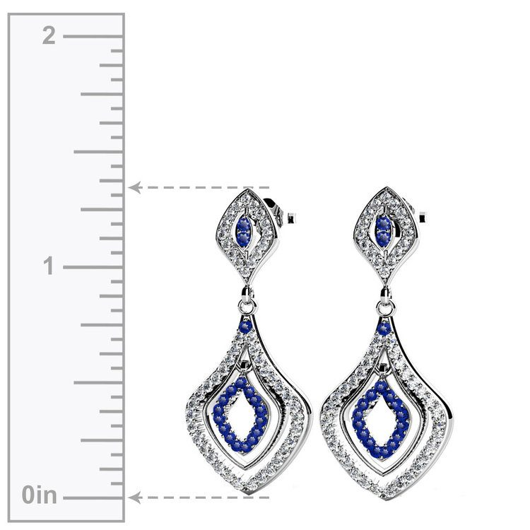 Diamond & Sapphire Dangle Earrings in White Gold | 02