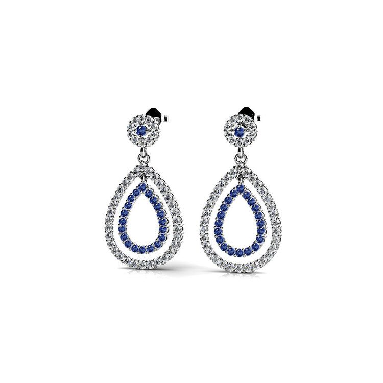 Diamond & Sapphire Link Earrings in White Gold | 01