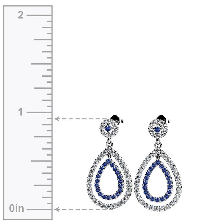 Diamond & Sapphire Link Earrings in White Gold | 02
