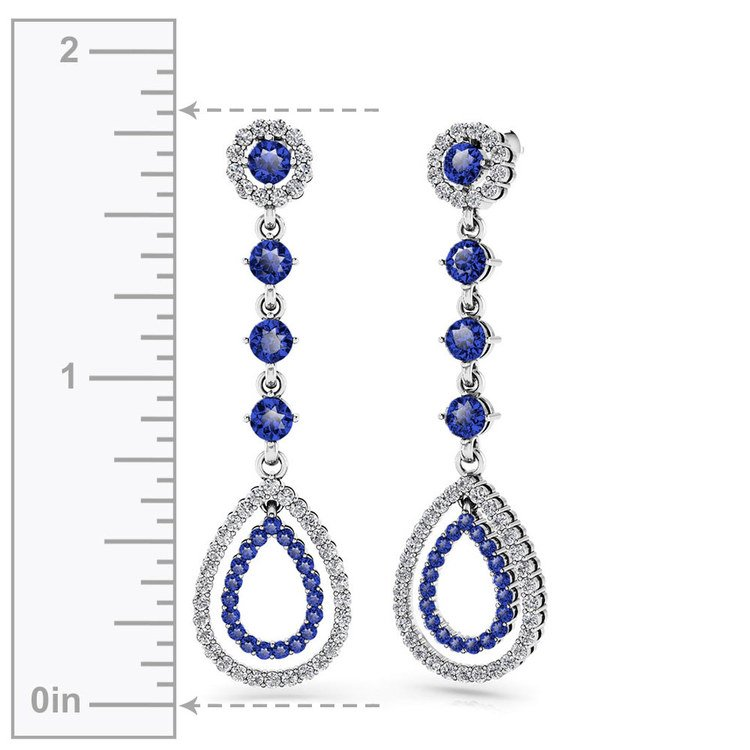 Diamond & Sapphire Teardrop Earrings in White Gold | 02