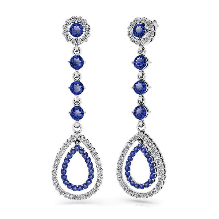 Diamond & Sapphire Teardrop Earrings in White Gold | 01