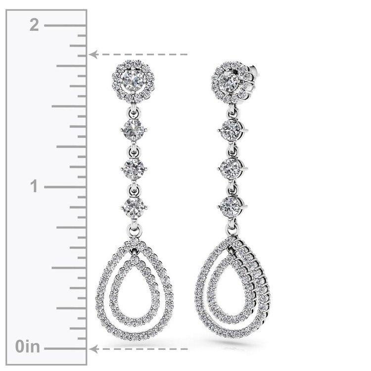 Diamond Teardrop Earrings in White Gold | 02