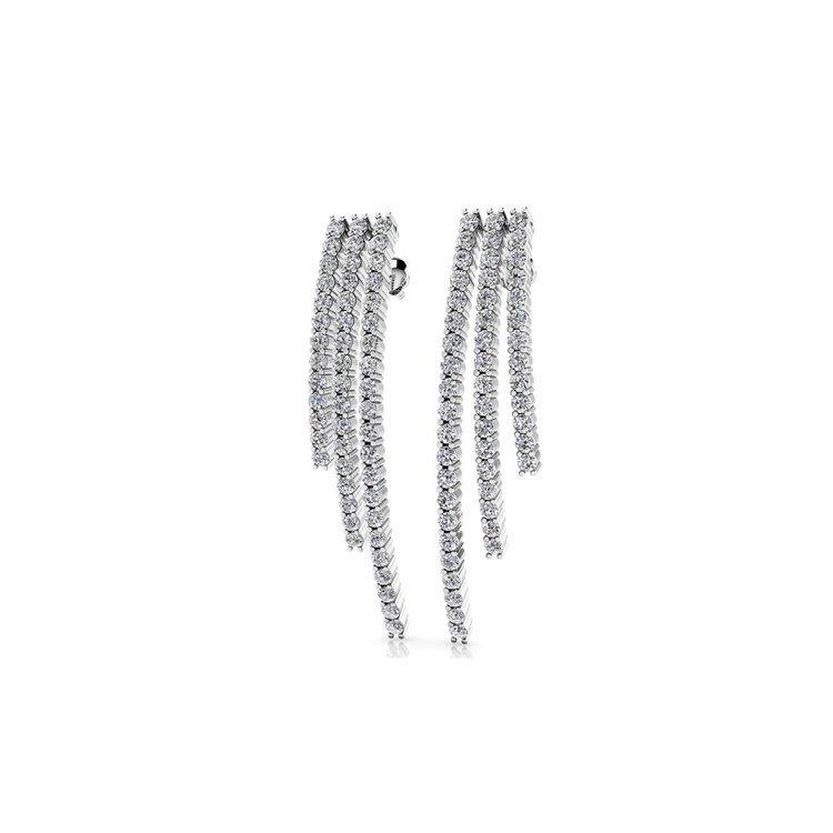 Diamond Three Strand Earrings in White Gold | 01