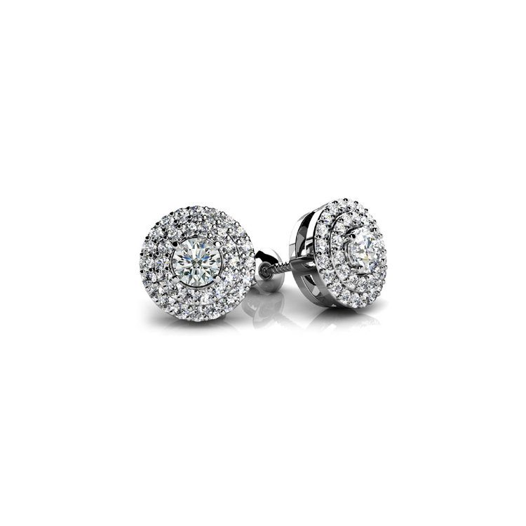 Double Halo Diamond Earrings in White Gold (1/2 ctw) | 01