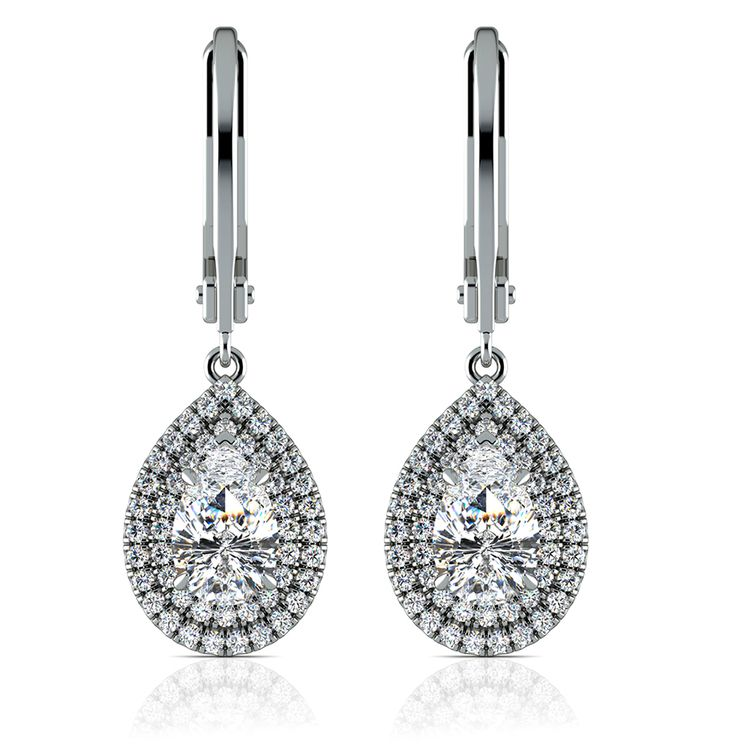 Double Halo Pear Earring Settings in White Gold | 04