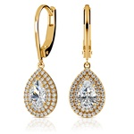 Double Halo Pear Earring Settings in Yellow Gold | Thumbnail 01