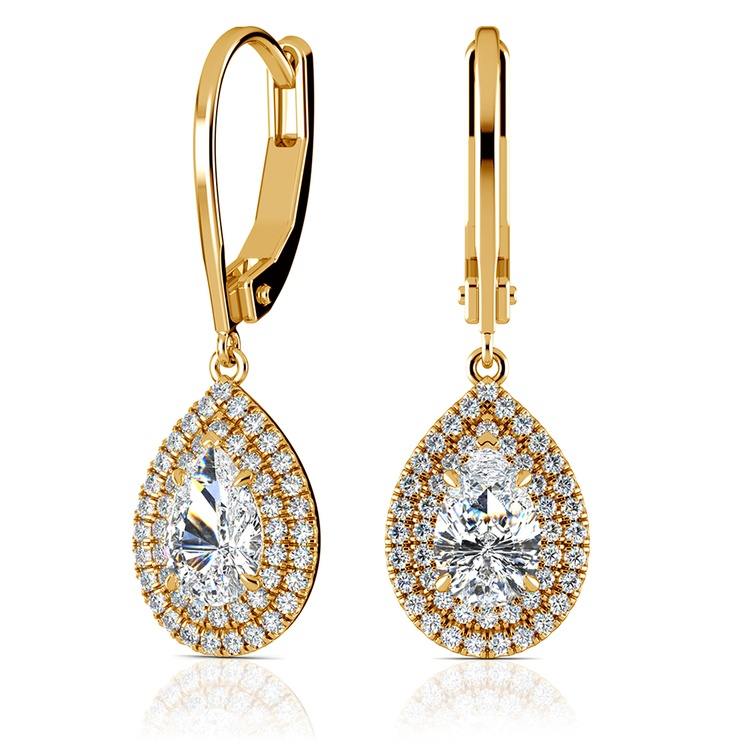 Double Halo Pear Earring Settings in Yellow Gold | 01