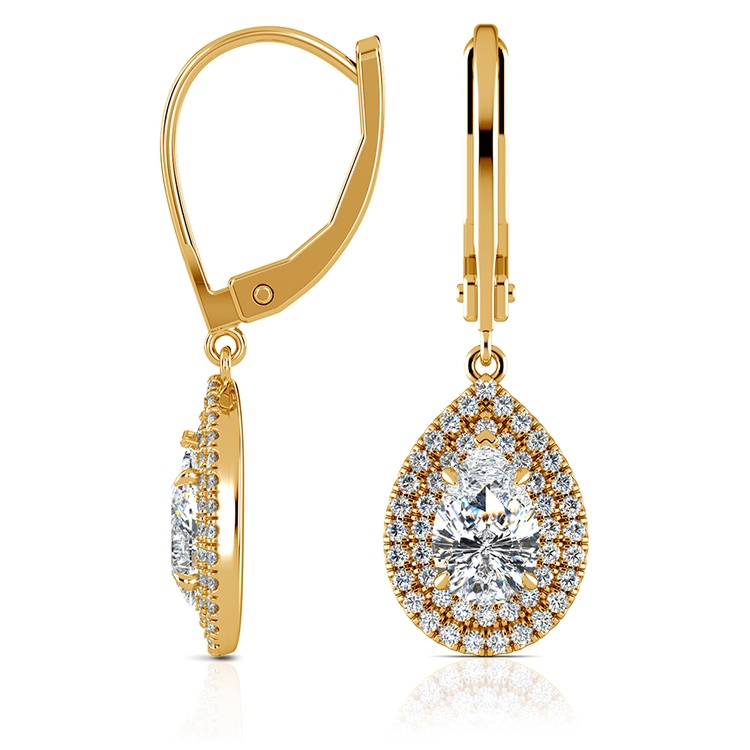 Double Halo Pear Earring Settings in Yellow Gold | 03