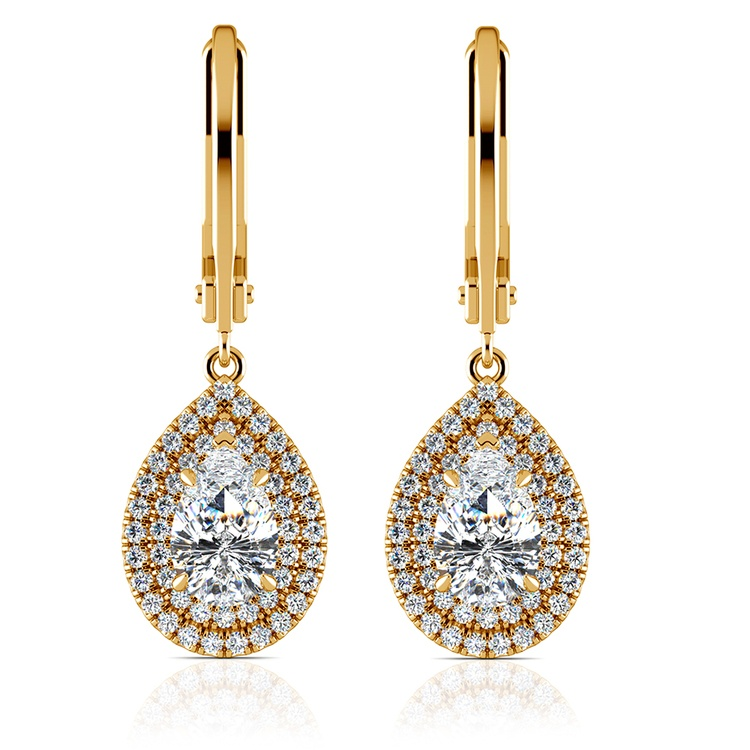 Double Halo Pear Earring Settings in Yellow Gold | 04