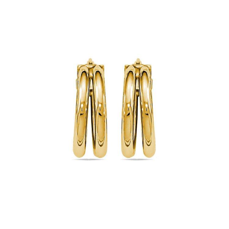Double Hoop Earrings in Yellow Gold   02
