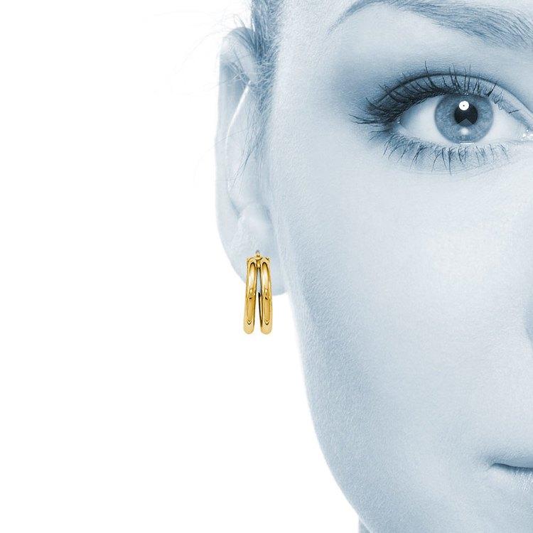 Double Hoop Earrings in Yellow Gold   04