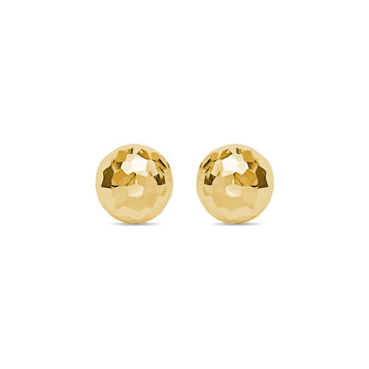 Faceted Ball Stud Earrings in Yellow Gold (8 mm) | 01