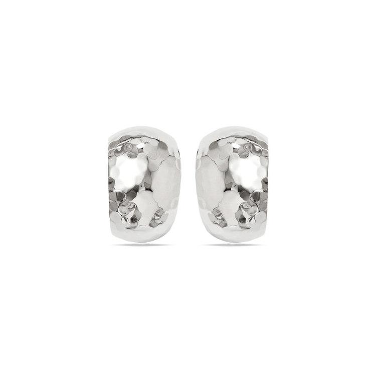 False Hoop Faceted Stud Earrings in Silver | 02