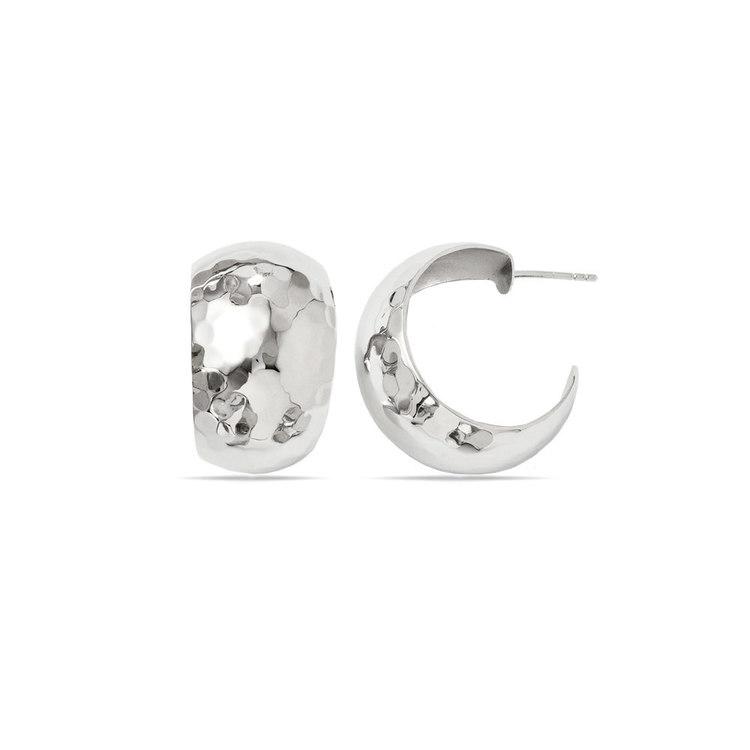 False Hoop Faceted Stud Earrings in Silver | 01