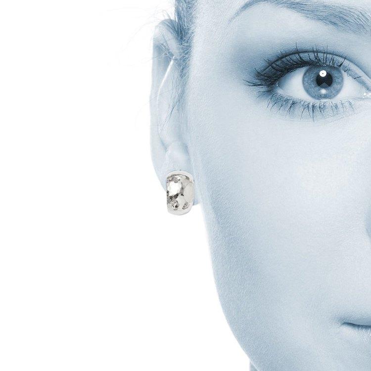 False Hoop Faceted Stud Earrings in Silver | 04