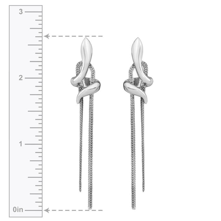 Fancy Chain Post Dangle Earrings in Silver | 03