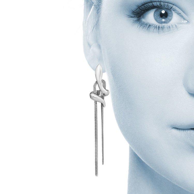 Fancy Chain Post Dangle Earrings in Silver | 04