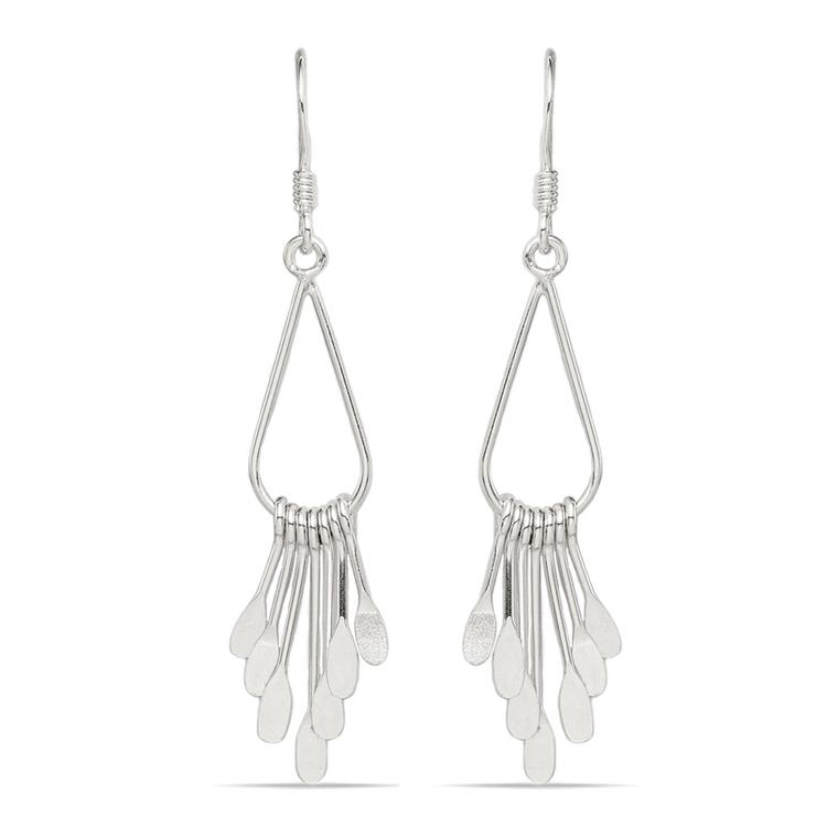 Fancy Fringe Dangle Earrings in Silver | 01
