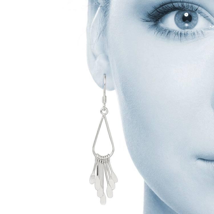 Fancy Fringe Dangle Earrings in Silver | 04
