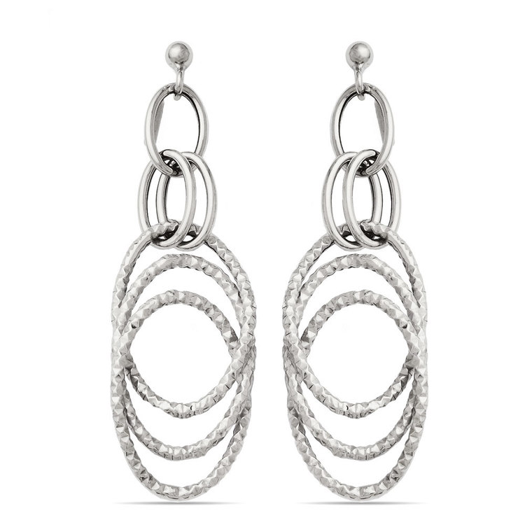 Fancy Textured Link Dangle Earrings in White Gold | 01