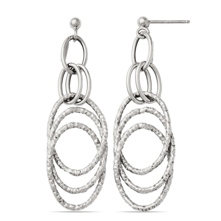 Fancy Textured Link Dangle Earrings in White Gold | 02