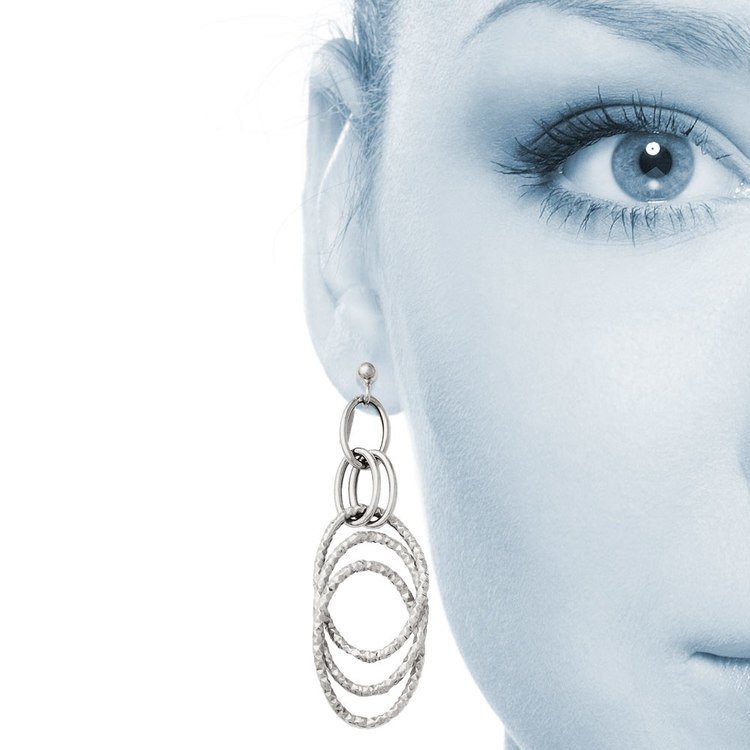 Fancy Textured Link Dangle Earrings in White Gold | 04
