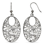 Floral Dangle Earrings with Blackened Filigree in Silver | Thumbnail 01