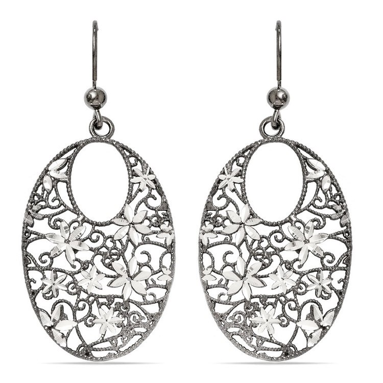 Floral Dangle Earrings with Blackened Filigree in Silver | 01