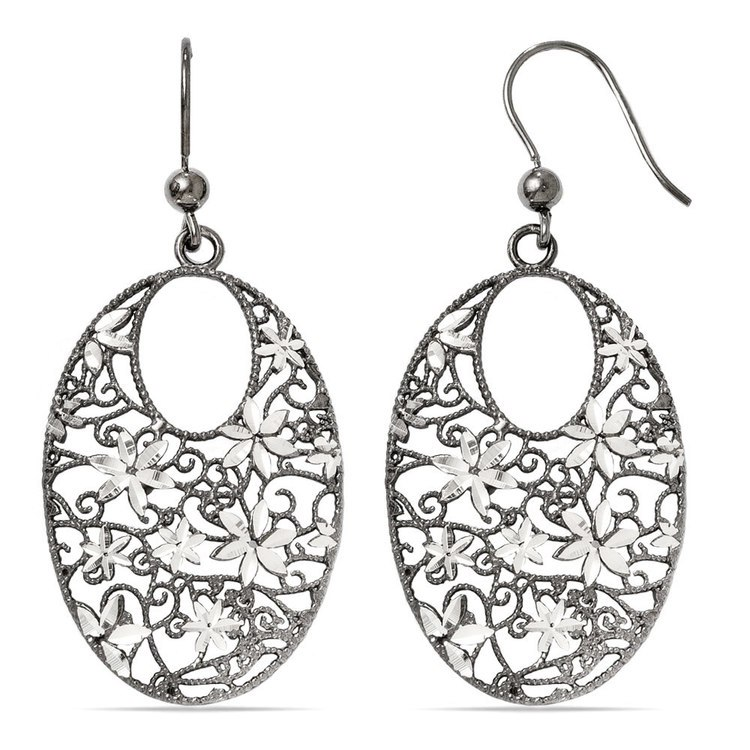Floral Dangle Earrings with Blackened Filigree in Silver | 02