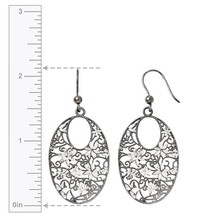 Floral Dangle Earrings with Blackened Filigree in Silver | 03