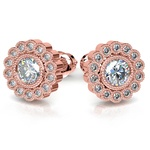 Flower Diamond Halo Earring Settings in Rose Gold | Thumbnail 01