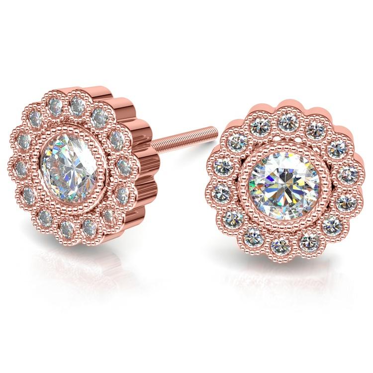 Flower Diamond Halo Earring Settings in Rose Gold | 01